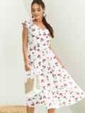 Платье с принтом и фигурным вырезом белое 54143, фото 3
