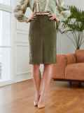 Прямая юбка из вельвета с разрезом спереди хаки 53503, фото 2