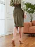Прямая юбка из вельвета с разрезом спереди хаки 53503, фото 3