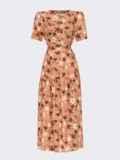 Расклешенное платье-миди с цветочным принтом коричневое 54152, фото 4