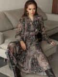 Расклешенное платье с принтом и воланом по низу 51791, фото 2