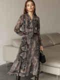 Расклешенное платье с принтом и воланом по низу 51791, фото 3