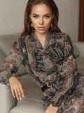Расклешенное платье с принтом и воланом по низу 51791, фото 4