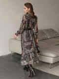 Расклешенное платье с принтом и воланом по низу 51791, фото 6