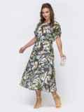 Шифоновое платье с принтом и расклешенной юбкой чёрное 48076, фото 2