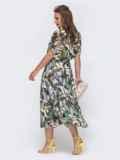 Шифоновое платье с принтом и расклешенной юбкой чёрное 48076, фото 3