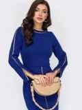 Синее платье приталенного кроя с высоким разрезом спереди 51793, фото 2