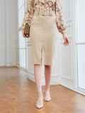 Вельветовая юбка прямого кроя с разрезом спереди бежевая 53502, фото 2