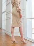 Вельветовая юбка прямого кроя с разрезом спереди бежевая 53502, фото 3