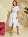 Белое платье-рубашка с отрезом по талии 53921, фото 2