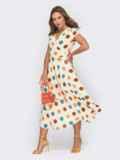 Платье молочного цвета в горох на запах 53919, фото 2