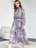 Расклешенное платье с принтом и воротником-стойкой сиреневое 55220, фото 1