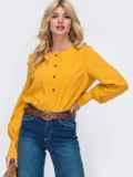 Желтая блузка свободного кроя из софта 50166, фото 2