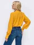 Желтая блузка свободного кроя из софта 50166, фото 3