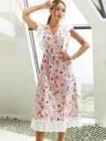 Расклешенное платье из штапеля с цветочным принтом розовое 54135, фото 3