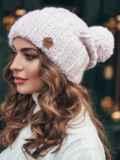 Розовая шапка из нитей двух цветов с помпоном 15452, фото 2