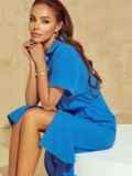 Синее платье-рубашка из крепа с разрезами по бокам 53923, фото 2