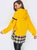 Комбинированное худи со вставкой в клетку жёлтое 53167, фото 4