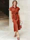 Льняное терракотовое платье-рубашка с разрезами по бокам 11129, фото 2