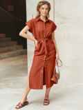 Льняное терракотовое платье-рубашка с разрезами по бокам 11129, фото 3
