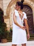 Белое платье из прошвы с открытой спинкой 54343, фото 5