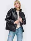 Черная демисезонная куртка из экокожи с воротником-стойкой 52988, фото 2