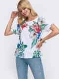 Белая блузка свободного кроя с принтом 49318, фото 2