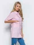 Хлопковая рубашка с карманом на полочке розовая 13407, фото 2