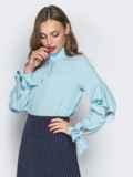 Голубая блузка с с завязками на рукавах 19418, фото 2