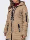 Демисезонная куртка с капюшоном и карманами бежевая 40226, фото 4