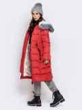 Длинная куртка со съемным капюшоном коралловая 40161, фото 4