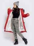 Длинная куртка со съемным капюшоном коралловая 40161, фото 5