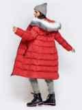Длинная куртка со съемным капюшоном коралловая 40161, фото 6