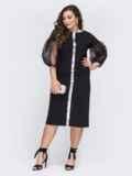 Чёрное платье батал с объемными рукавами из фатина 43778, фото 1