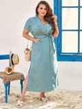 Голубое платье-макси батал из тонкого джинса с лацканами 54394, фото 1