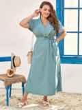 Голубое платье-макси батал из тонкого джинса с лацканами 54394, фото 3