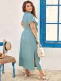 Голубое платье-макси батал из тонкого джинса с лацканами 54394, фото 4