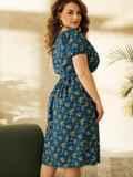 Платье большого размера с коротким рукавом синее 53727, фото 2