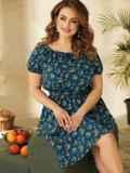 Платье большого размера с коротким рукавом синее 53727, фото 3