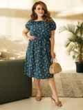 Платье большого размера с коротким рукавом синее 53727, фото 4