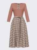 Платье с расклешенной юбкой бежевого цвета в клетку 53499, фото 4