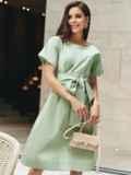 Хлопковое платье с короткими рукавами и поясом в комплекте зеленое 54688, фото 2
