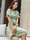 Хлопковое платье с короткими рукавами и поясом в комплекте зеленое 54688, фото 3
