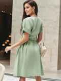 Хлопковое платье с короткими рукавами и поясом в комплекте зеленое 54688, фото 4