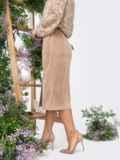 Вельветовая юбка с высоким разрезом спереди бежевая 44900, фото 2
