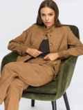 Вельветовый костюм из жакета на пуговицах и брюк бежевый 55058, фото 1