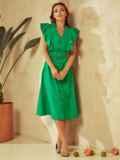 Зеленое платье с оборками и планкой с пуговицами по длине 53925, фото 5