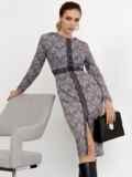 Коричневое платье-футляр с принтом и кружевом 52361, фото 2