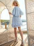Расклешенное платье из хлопка с объемными рукавами голубое 54021, фото 4