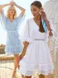 Расклешенное платье из хлопка с объемными рукавами голубое 54021, фото 5